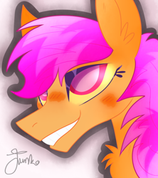 Size: 800x900 | Tagged: safe, artist:junko, scootaloo, pegasus, pony, alternate hairstyle, chest fluff, cute, ear fluff, eyelashes, female, looking offscreen, mare, older, older scootaloo, profile, signature, smiling, solo, teeth