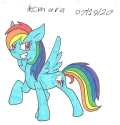 Size: 970x1010 | Tagged: safe, artist:cmara, rainbow dash, pegasus, pony, female, grin, mare, raised hoof, simple background, smiling, solo, traditional art, white background