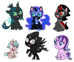 Size: 1300x1100 | Tagged: safe, artist:enigmadoodles, cozy glow, king sombra, nightmare moon, pony of shadows, queen chrysalis, starlight glimmer, changeling, pony, my little pony: pony life, the cutie map, cozybetes, cute, cutealis, equal cutie mark, glimmerbetes, moonabetes, shadorable, simple background, sombradorable, transparent background