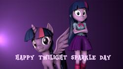 Size: 4195x2360 | Tagged: safe, artist:fazbearsparkle, twilight sparkle, alicorn, pony, equestria girls, 3d, clothes, human ponidox, leg warmers, looking at you, self ponidox, sfm pony, skirt, source filmmaker, twilight sparkle (alicorn), twilight sparkle day