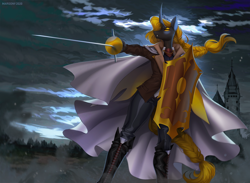 Size: 1400x1027 | Tagged: safe, artist:margony, oc, oc only, oc:cero, anthro, changeling, boots, castle, changeling oc, clothes, cloud, dark clouds, female, pants, shield, shoes, sky, solo, sword, weapon, yellow changeling