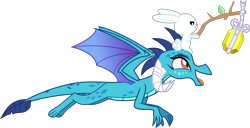 Size: 6969x3556 | Tagged: safe, artist:kmlp, derpibooru exclusive, angel bunny, princess ember, dragon, rabbit, animal, flying, gem, lure, simple background, stick, string, transparent background, vector, wings