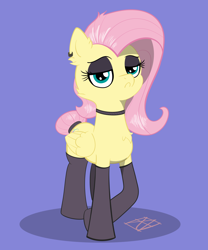 Size: 5000x6000 | Tagged: safe, artist:naen, fluttershy, pegasus, pony, alternate hairstyle, clothes, cute, ear piercing, goth, piercing, simple background, solo, stockings, thigh highs