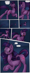 Size: 1920x4691 | Tagged: safe, artist:shieltar, part of a set, twilight sparkle, pony, unicorn, comic:giant twilight, better source needed, comic, cute, dialogue, female, giant pony, giant twilight sparkle, giantess, growth, horn, impossibly long tail, jewelry, large butt, macro, magic, mare, necklace, part of a series, pony bigger than a planet, pony bigger than a solar system, pony bigger than a star, pony heavier than a black hole, signature, size difference, solo, space, stars, the ass was fat, transformation, unicorn twilight