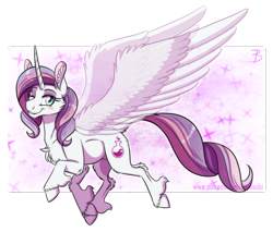 Size: 1332x1135 | Tagged: safe, artist:inuhoshi-to-darkpen, potion nova, pony, unicorn, my little pony: pony life, abstract background, chest fluff, cloven hooves, ear fluff, female, fluffy, horn, looking at you, mare, one eye closed, smiling, solo, spread wings, transparent wings, unshorn fetlocks, wings, wink
