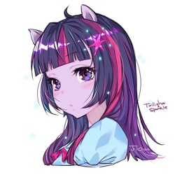 Size: 650x650 | Tagged: safe, alternate version, artist:jojo0327, twilight sparkle, equestria girls, anime, blushing, bust, cute, cutie mark accessory, female, ponied up, simple background, solo, twiabetes, white background