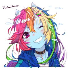 Size: 650x650 | Tagged: safe, artist:jojo0327, rainbow dash, equestria girls, anime, blushing, bust, choker, clothes, cloud, cute, cutie mark accessory, dashabetes, female, hoodie, looking at you, one eye closed, ponied up, simple background, smiling, solo, white background, wink