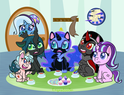 Size: 1300x1000 | Tagged: safe, artist:enigmadoodles, cozy glow, discord, king sombra, nightmare moon, queen chrysalis, starlight glimmer, trixie, changeling, pegasus, pony, unicorn, my little pony: pony life, the cutie map, cozybetes, cupcake, cute, cutealis, dart board, diatrixes, equal cutie mark, food, g4 to g4.5, glimmerbetes, implied tirek, moonabetes, sombradorable