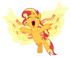 Size: 1024x836 | Tagged: safe, artist:emeraldblast63, sunset shimmer, phoenix, pony, equestria girls, my past is not today, cute, equestria girls ponified, excited, eyes closed, ponified, shimmerbetes, simple background, solo, transparent background, volumetric mouth