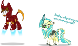 Size: 1280x763 | Tagged: safe, artist:mlp-trailgrazer, oc, oc only, oc:artsy doodle, oc:evan, kirin, clothes, cosplay, costume, iron man, simple background, transparent background