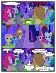 Size: 612x792 | Tagged: safe, edit, edited screencap, screencap, applejack, fluttershy, pinkie pie, rainbow dash, rarity, spike, twilight sparkle, dragon, earth pony, pegasus, pony, unicorn, comic:friendship is dragons, a canterlot wedding, comic, cup, dialogue, drink, eyes closed, female, hat, male, mane seven, mane six, outdoors, screencap comic, unicorn twilight, worried