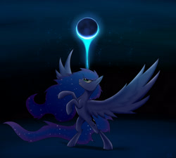 Size: 2940x2645 | Tagged: safe, artist:lth935, princess luna, alicorn, pony, female, mare, moon, night, solo, spread wings, wings