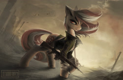 Size: 3451x2267 | Tagged: safe, artist:blvckmagic, oc, oc only, oc:roulette, earth pony, pony, fallout equestria, fallout equestria: red 36, assault rifle, clothes, cloud, cloudy, fanfic art, female, gun, hoof wraps, jacket, looking at you, m16, mare, outdoors, rifle, sunset, wasteland, weapon