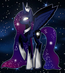 Size: 1600x1800 | Tagged: safe, artist:unikitty66, princess luna, alicorn, pony, alternate hairstyle, alternate universe, crown, ethereal mane, female, glowing eyes, hoof shoes, jewelry, mare, markings, night, raised hoof, redesign, regalia, solo, space, starry mane, stars