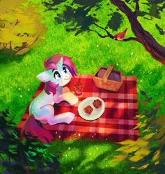 Size: 1360x1437 | Tagged: safe, artist:dearmary, oc, oc only, bird, pony, unicorn, basket, dappled sunlight, picnic, picnic basket, picnic blanket, solo, tree