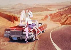 Size: 2048x1430 | Tagged: safe, artist:dearmary, oc, oc only, anthro, pegasus, unguligrade anthro, car, desert, road, scenery, solo