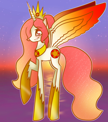 Size: 1600x1800 | Tagged: safe, artist:unikitty66, princess celestia, alicorn, pony, alternate hairstyle, alternate universe, blushing, crown, female, grin, hoof shoes, jewelry, mare, redesign, regalia, smiling, solo