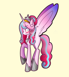 Size: 1600x1800 | Tagged: safe, artist:unikitty66, princess flurry heart, alicorn, pony, alternate hairstyle, alternate universe, annoyed, blushing, crown, female, hoof shoes, jewelry, mare, older, older flurry heart, raised hoof, redesign, refalia, regalia, simple background, solo, yellow background