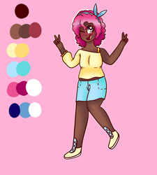 Size: 1800x2000   Tagged: safe, artist:unikitty66, pinkie pie, human, blushing, boots, bra, bra strap, clothes, dark skin, female, hairband, humanized, one eye closed, open mouth, peace sign, pink background, reference sheet, shirt, shoes, shorts, simple background, solo, underwear, wink