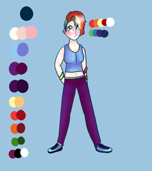 Size: 1600x1800 | Tagged: safe, artist:unikitty66, rainbow dash, human, albino, alternate hairstyle, belly button, blue background, blushing, clothes, ear piercing, earring, eyebrow piercing, female, humanized, jewelry, midriff, pants, piercing, rainbow dash is not amused, reference sheet, shoes, simple background, sneakers, solo, sweatpants, tanktop, unamused, wristband