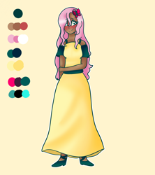 Size: 1600x1800 | Tagged: safe, artist:unikitty66, fluttershy, butterfly, human, alternate hairstyle, belt, blushing, bra, bra strap, clothes, dark skin, dress, female, high heels, humanized, reference sheet, shoes, simple background, solo, underwear, yellow background