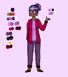 Size: 1600x1800 | Tagged: safe, artist:unikitty66, twilight sparkle, human, alternate hairstyle, blushing, clothes, dark skin, female, flats, glasses, hair bun, hoodie, humanized, jeans, open mouth, pants, purple background, reference sheet, shirt, shoes, simple background, solo, t-shirt