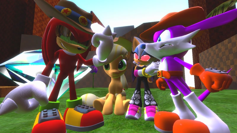 2417472 Safe Artist Spikehedgelion8 Applejack 3d Crossover Fang The Sniper Gmod Green Hill Zone Heart Eyes Knuckles The Echidna Master Emerald Rouge The Bat Sfm Pony Sonic Riders Sonic The Hedgehog Series