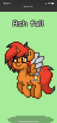Size: 828x1792 | Tagged: safe, screencap, oc, oc:ash fall, alicorn, pony, pony town, alicorn oc, horn, two toned wings, wings