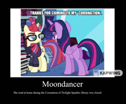 Size: 1280x1057 | Tagged: safe, artist:thor-disciple, edit, edited screencap, screencap, moondancer, twilight sparkle, alicorn, pony, unicorn, amending fences, black background, book, bookshelf, caption, clothes, demotivational poster, female, image macro, mare, meme, sarcasm, simple background, sweater, text, twilight sparkle (alicorn), twilight's canterlot home