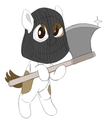 Size: 711x794 | Tagged: safe, artist:heretichesh, pipsqueak, earth pony, pony, axe, colt, executioner, male, mask, out of character, simple background, solo, weapon, white background