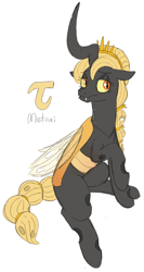 Size: 772x1453 | Tagged: safe, artist:heretichesh, oc, oc:metaxi, changeling, changeling queen, braided ponytail, braided tail, changeling oc, crown, female, jewelry, mare, raised hoof, regalia, sitting, sketch, solo, yellow changeling