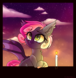 Size: 1385x1424 | Tagged: safe, artist:_spacemonkeyz_, oc, oc:fizzle berry, bat pony, candle, crying, sky, solo