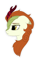 Size: 919x1445 | Tagged: safe, artist:keupoz, autumn blaze, kirin, commission, outline, portrait, simple background, transparent background