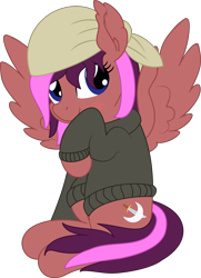 Size: 5489x7569 | Tagged: safe, artist:cyanlightning, oc, oc only, oc:sky, pegasus, .svg available, absurd resolution, bandana, clothes, female, looking at you, mare, simple background, solo, spread wings, sweater, transparent background, vector, wings