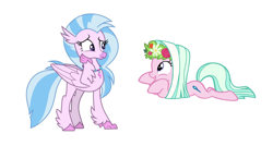 Size: 1188x636 | Tagged: safe, artist:vargo, edit, silverstream, tender brush, winter lotus, earth pony, hippogriff, pony, female, floating, flower, flower in hair, hand on face, laying on stomach, look-alike, looking at each other, mare, simple background, upvote bait, white background