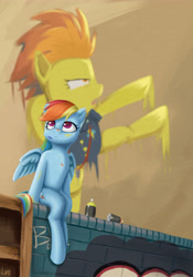 Size: 3307x4724 | Tagged: safe, artist:lin feng, rainbow dash, spitfire, pegasus, pony, graffiti, solo