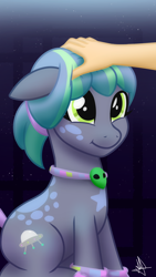 Size: 1080x1920 | Tagged: safe, artist:whitequartztheartist, oc, earth pony, human, pony, bracelet, collar, female, jewelry, mare, petting, solo, wristband