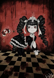 Size: 1434x2048 | Tagged: safe, artist:blackstrawberry14, pony, unicorn, celestia ludenberg, checkered floor, clothes, danganronpa, dress, drill hair, female, gothic lolita, looking at you, magic, mare, playing card, ponified, solo, telekinesis, traditional art