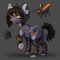 Size: 2500x2500 | Tagged: safe, artist:...macabre..., oc, oc:glossyblack, beetle, earth pony, insect, clothes, earth pony oc, edgy, fishnets, goth, gothic, latex, latex socks, piercing, punk, socks