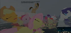 Size: 1363x646 | Tagged: safe, artist:didgereethebrony, apple bloom, applejack, doctor whooves, fluttershy, hoity toity, pinkie pie, rarity, scootaloo, sweetie belle, time turner, twilight sparkle, alicorn, earth pony, pegasus, pony, unicorn, 3d, boat, cutie mark crusaders, dead, eyes closed, floating, floating above water, gmod, lifeboat, pinkamena diane pie, sfm pony, titanic, why, wtf