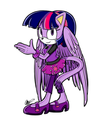 Size: 1258x1474 | Tagged: safe, artist:mysteryart716, part of a set, twilight sparkle, alicorn, anthro, cat, bracelet, clothes, female, jewelry, mobian, shoes, simple background, solo, sonic the hedgehog (series), sonicified, species swap, transparent background, twilight sparkle (alicorn), wings
