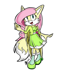 Size: 1258x1474 | Tagged: safe, artist:mysteryart716, part of a set, fluttershy, anthro, fox, clothes, female, mobian, shoes, simple background, solo, sonic the hedgehog (series), sonicified, species swap, transparent background, wings