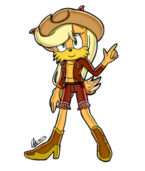 Size: 1258x1474 | Tagged: safe, artist:mysteryart716, part of a set, applejack, anthro, coyote, clothes, female, hat, mobian, shoes, simple background, solo, sonic the hedgehog (series), sonicified, species swap, transparent background