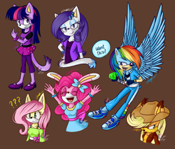 Size: 2399x2046 | Tagged: safe, artist:mysteryart716, applejack, fluttershy, pinkie pie, rainbow dash, rarity, twilight sparkle, anthro, cat, coyote, fox, hedgehog, rabbit, animal, bracelet, bunnified, bunny pie, catified, chaos emerald, clothes, crossover, cutie mark necklace, dialogue, eyes closed, female, hat, jewelry, mane six, mobian, open mouth, question mark, shoes, smiling, sonic the hedgehog (series), sonicified, species swap, vixen, watermark, wings