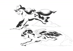 Size: 1442x1000   Tagged: safe, artist:adeptus-monitus, earth pony, pegasus, pony, flying, leg wings, race, traditional art