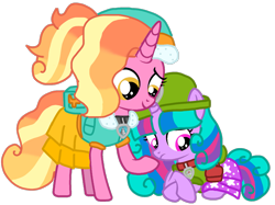 Size: 1331x996 | Tagged: safe, artist:徐詩珮, luster dawn, oc, oc:velvet berrytwist, alicorn, unicorn, bubbleverse, series:sprglitemplight diary, series:sprglitemplight life jacket days, series:springshadowdrops diary, series:springshadowdrops life jacket days, alicornified, alternate universe, base used, clothes, everest (paw patrol), female, filly, magical lesbian spawn, magical threesome spawn, multiple parents, next generation, offspring, parent:glitter drops, parent:spring rain, parent:tempest shadow, parent:twilight sparkle, parents:glittershadow, parents:sprglitemplight, parents:springdrops, parents:springshadow, parents:springshadowdrops, paw patrol, race swap, teenager, tracker (paw patrol), younger