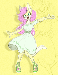 Size: 2149x2790 | Tagged: safe, artist:mysteryart716, part of a set, fluttershy, anthro, fennec fox, fox, plantigrade anthro, clothes, deviantart watermark, dress, female, mobian, obtrusive watermark, open mouth, sandals, smiling, solo, sonic the hedgehog (series), sonicified, species swap, watermark, zoom layer