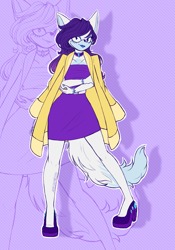 Size: 2051x2923 | Tagged: safe, artist:mysteryart716, part of a set, rarity, anthro, cat, plantigrade anthro, bracelet, choker, clothes, deviantart watermark, dress, female, high heels, jacket, jewelry, lipstick, mobian, obtrusive watermark, shoes, solo, sonic the hedgehog (series), sonicified, species swap, watermark, zoom layer