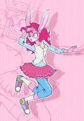 Size: 1884x2694 | Tagged: safe, artist:mysteryart716, part of a set, pinkie pie, anthro, plantigrade anthro, rabbit, action pose, animal, bracelet, clothes, converse, deviantart watermark, female, jewelry, jumping, mobian, necktie, obtrusive watermark, shirt, shoes, skirt, socks, solo, sonic the hedgehog (series), sonicified, species swap, vest, watermark, zoom layer