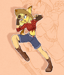 Size: 2261x2652 | Tagged: safe, artist:mysteryart716, part of a set, applejack, anthro, dog, plantigrade anthro, action pose, boots, clothes, deviantart watermark, female, fingerless gloves, front knot midriff, gloves, hat, midriff, mobian, obtrusive watermark, shoes, shorts, solo, sonic the hedgehog (series), sonicified, species swap, watermark, zoom layer